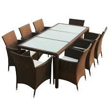 6 Seater Patio Furniture Set - vidaxl 17 piece garden furniture set brown poly rattan vidaxl com