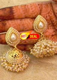 jhumka earrings online shopping buy preety white gold plated bandani jhumka earrings online