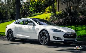teal car white rims tesla model s aftermarket wheels