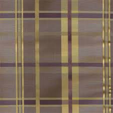 cologne plaid faux silk fabric in woodrose plum purple and gold