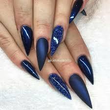 blue stiletto nails with glitter nail art u0026 polish pinterest