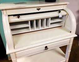 image of roll top computer desk white