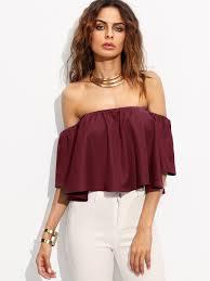 shoulder tops burgundy shirred the shoulder top emmacloth women fast fashion