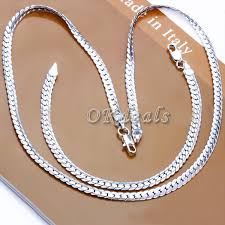 solid silver necklace jewelry images Fashion men women 5mm solid silver necklace chain 20 quot inch gift ebay jpg