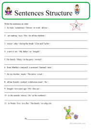 33 free esl sentence structure worksheets
