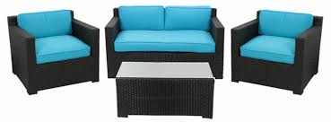Walmart Com Patio Furniture - resin wicker outdoor patio furniture set blue cushions walmartcom