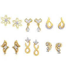gold stud earrings for women kaizer jewelry american diamond gold stud earrings for women