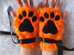 Neko Halloween Costume Cute Ginger Orange Furry Wolf Fox Dog Neko Cat Black Paw Print