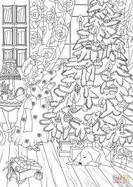 a little is decorating a christmas tree coloring page free