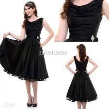 fashion party dress scoop ruffle tea length taffeta party dresses