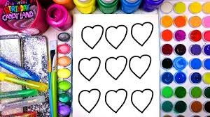 coloring page of valentines day hearts to color with watercolor