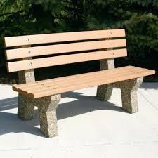 photo wooden garden bench seat images precast concrete benches san