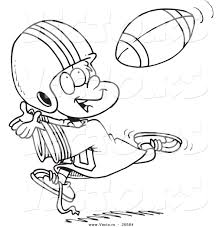 vector of a cartoon boy catching a football coloring page