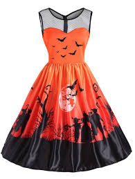 mesh yoke halloween moon bat print dress orange xl in vintage