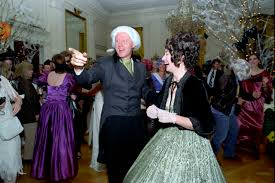 bill and hillary dressed as james and dolley madison 1993 white