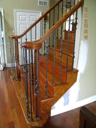 Wooden Banister Wood Stairs And Rails Iron Balusters Handrail With Cherry Hill Nj