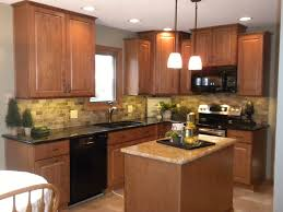 Refurbished Kitchen Cabinets Honey Oak Kitchen Cabinets Tile Backsplash Remodeling With Granite