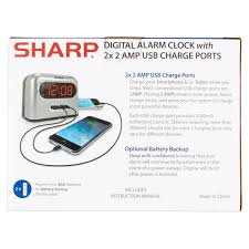 sharp digital alarm clock with 2x 2 amp usb charge ports walmart com