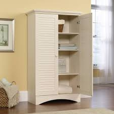 White Distressed Bookcase by Sauder Harbor View Storage Cabinet Antiqued White Walmart Com