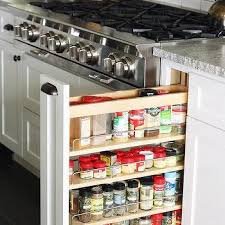 Spice Rack Countertop Pull Out Spice Rack Next To Stove Transitional Kitchen
