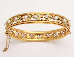 bangle bracelet with pearl images Arts and crafts enamel pearl gold bangle bracelet for sale at 1stdibs jpg