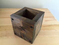 extra large rustic wood pencil holder in sassafras log office