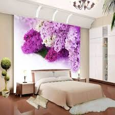 bedroom creative wall mural inspiration fascinating ideas beautiful purple hydrangea flower wallpaper for modern bedroom
