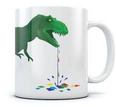 drooling t rex coffee mug dripping colorful polygons cool tea