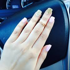 pink u0026 gold square nails by don and ring finger design by queenie