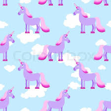 purple unicorn on blue sky with white clouds seamless pattern