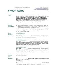 Sample College Student Resume No Work Experience by Write Resume No Work Experience Example