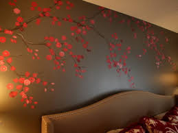 grey wallpaper with red flowers red flowers murals in eclectic bedroom master bedroom inspiration