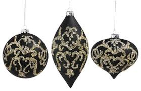 cypress home gold and black embellished glass ornaments 3