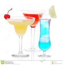 martini hawaiian yellow red blue alcohol margarita martini cocktails stock image