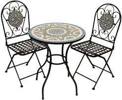 Mosaic Patio Furniture Bistro Set Table 2 Folding Chairs Garden Furniture Mosaic Outdoor