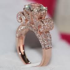 sterling diamond rings images 3 carat luxury simulate diamond rings sterling silver rose gold jpg