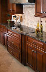 Wood Kitchen Cabinets Baltic Brown Granite Countertop Tile - Kitchen cabinet countertop