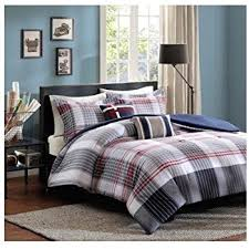 Plaid Bed Set Blue Grey Plaid Comforter Boys Bedding Set