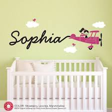 Name Wall Decals For Nursery by Bedding Airplane Name Wall Decal Boy Skywriter Travel Theme
