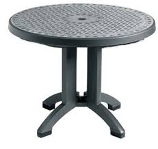 resin patio table with umbrella hole 38 round charcoal synthetic metal folding resin outdoor grosfillex