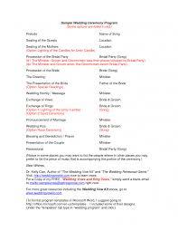wedding party program wedding sle wedding ceremony sle programs for wedding