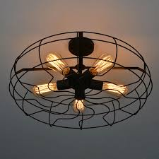 Light Fans Ceiling Fixtures Vintage Retro Industrial Fan Ceiling Lights American Country Loft