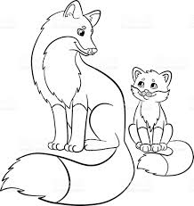 coloring pages wild animals mother fox with her baby stock vector