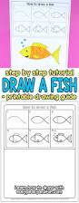 how to draw a fish step by step tutorial for kids printable