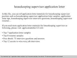 Sample Resume For Housekeeping by Housekeeping Supervisor Application Letter