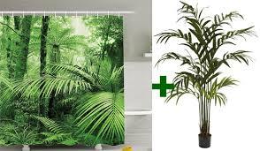 Rainforest Shower Curtain - forest bathing in your own bathroom 3 diy ideas