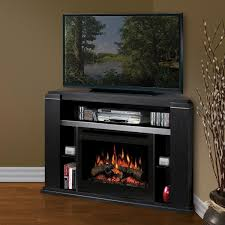 furniture brown stained pine wood corner fireplace and tv stand