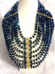 adele navy blue and gold statement necklace