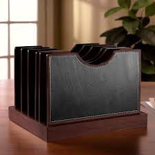 Leather Desk Organizers Cubi Adjust A File Large Leather Desk Organizer Levenger