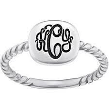 Mens Monogram Rings Sterling Silver Circle Monogram Signet Ring Initials Monograms